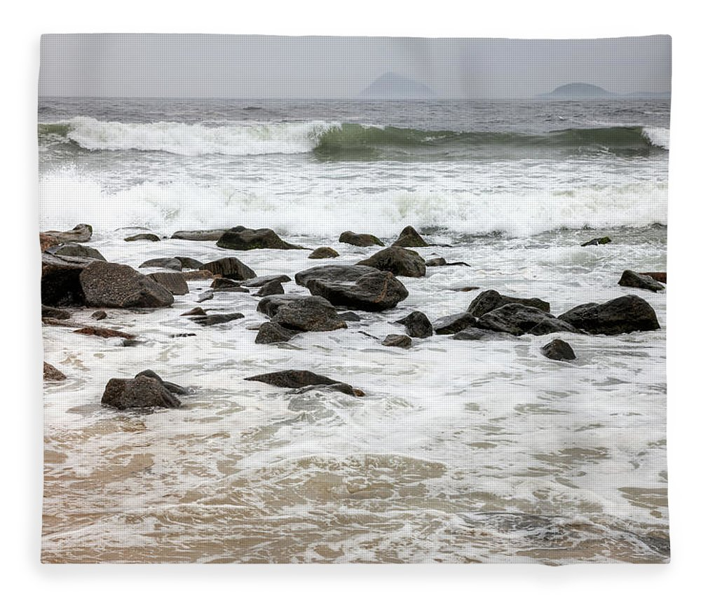 Water's Edge Fleece Blanket featuring the photograph Waves Crashing On Copacabana Beach In by Tirc83