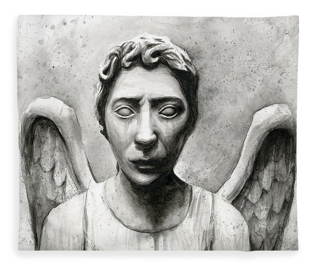 Who Fleece Blanket featuring the painting Weeping Angel Don't Blink Doctor Who Fan Art by Olga Shvartsur