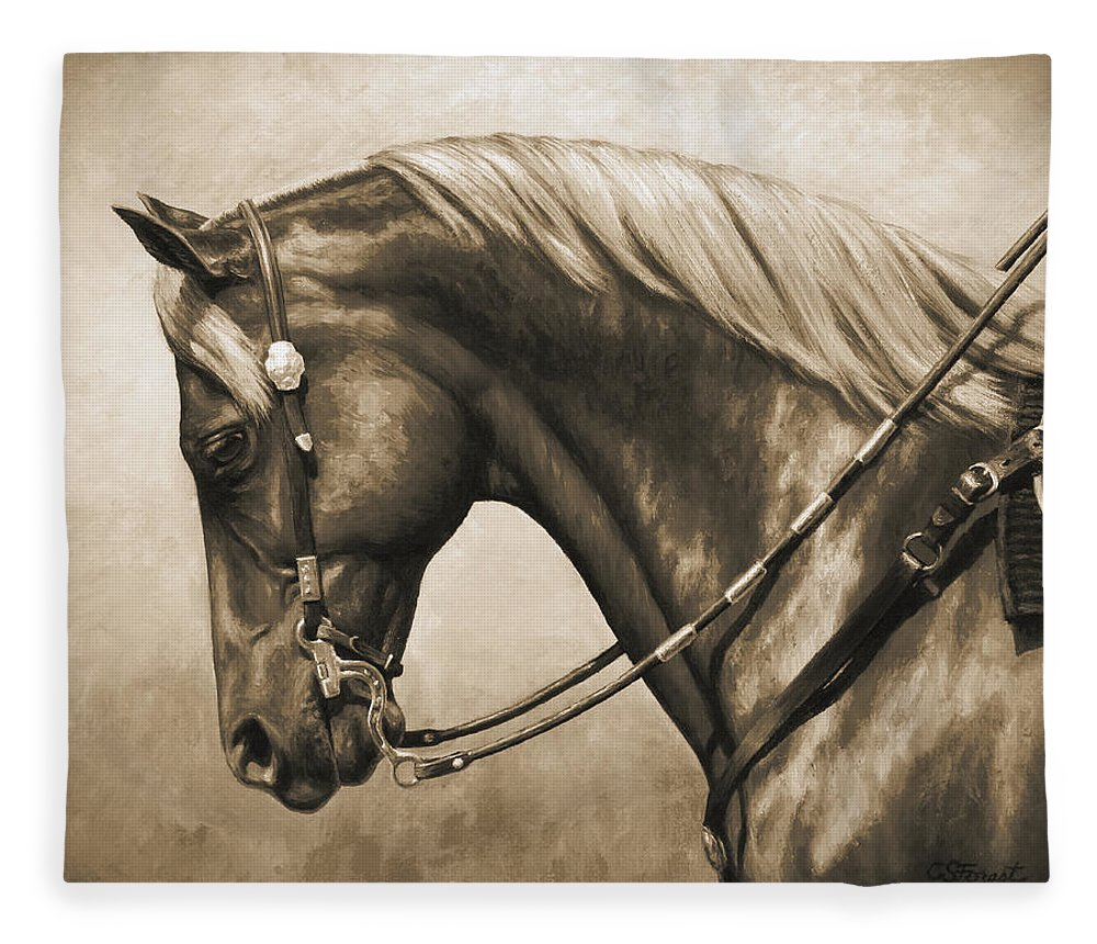 Horse Fleece Blanket featuring the painting Western Horse Painting In Sepia by Crista Forest