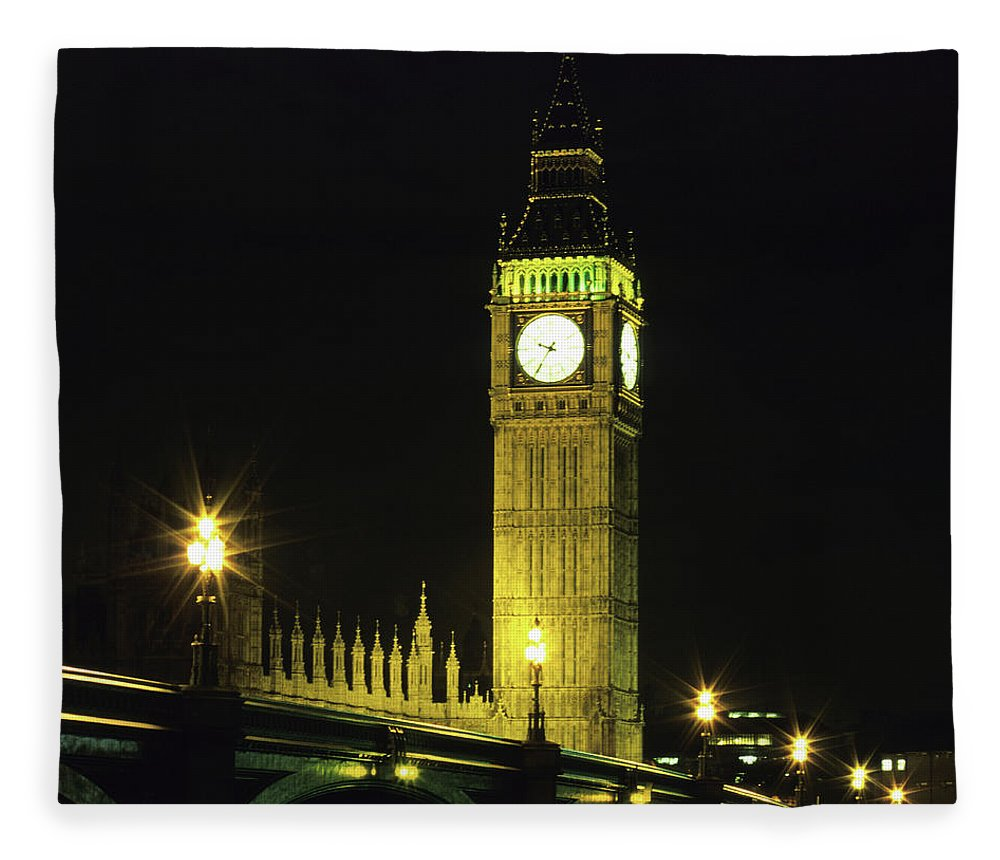 Gothic Style Fleece Blanket featuring the photograph Westminster Bridge And Big Ben At by Hisham Ibrahim