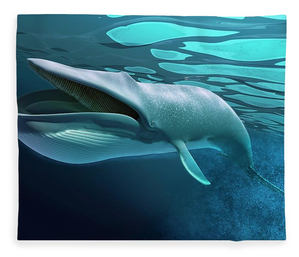 Underwater Fleece Blanket featuring the digital art Whale, Artwork by Leonello Calvetti