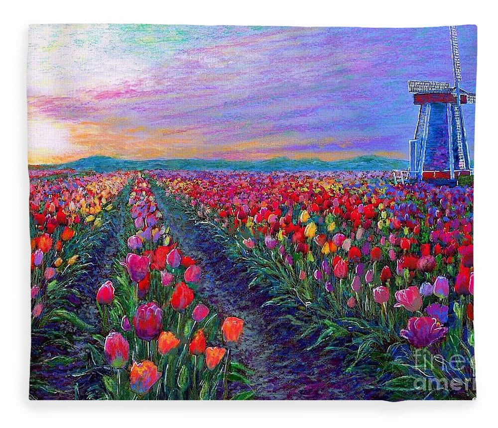 Landscape Fleece Blanket featuring the painting Tulip Fields, What Dreams May Come by Jane Small