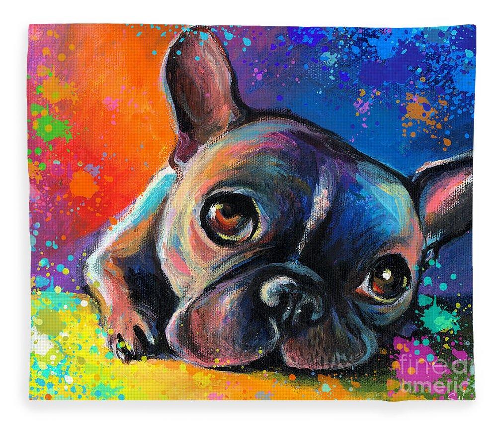 French Bulldog Prints Fleece Blanket featuring the painting Whimsical Colorful French Bulldog by Svetlana Novikova