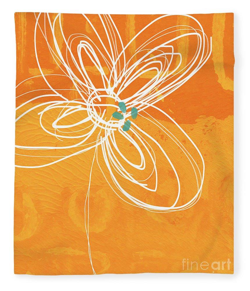 Flower Fleece Blanket featuring the painting White Flower on Orange by Linda Woods
