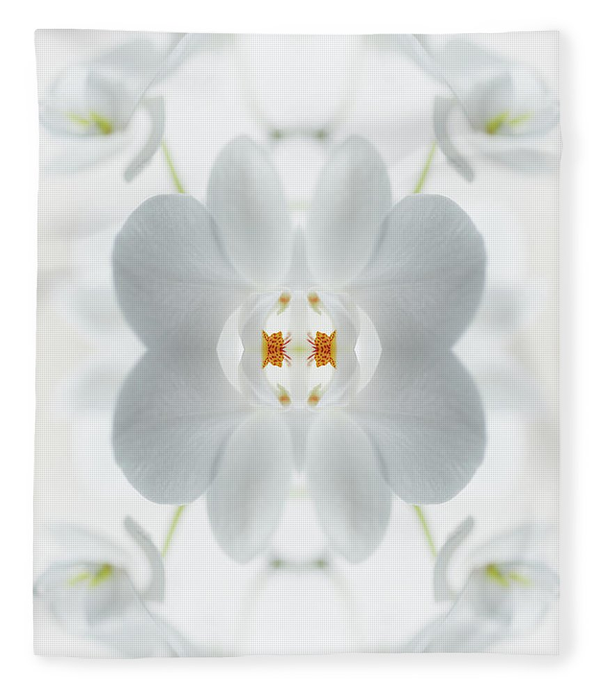 Tranquility Fleece Blanket featuring the photograph White Orchid Flower by Silvia Otte