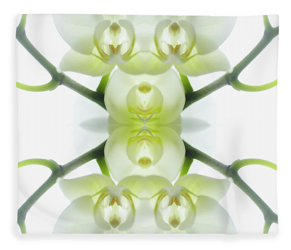 Tranquility Fleece Blanket featuring the photograph White Orchid With Stems by Silvia Otte