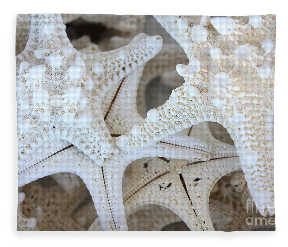 White Fleece Blanket featuring the photograph White Starfish by Carol Groenen