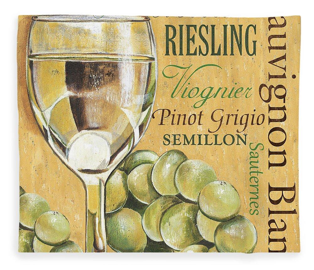 Wine Fleece Blanket featuring the painting White Wine Text by Debbie DeWitt