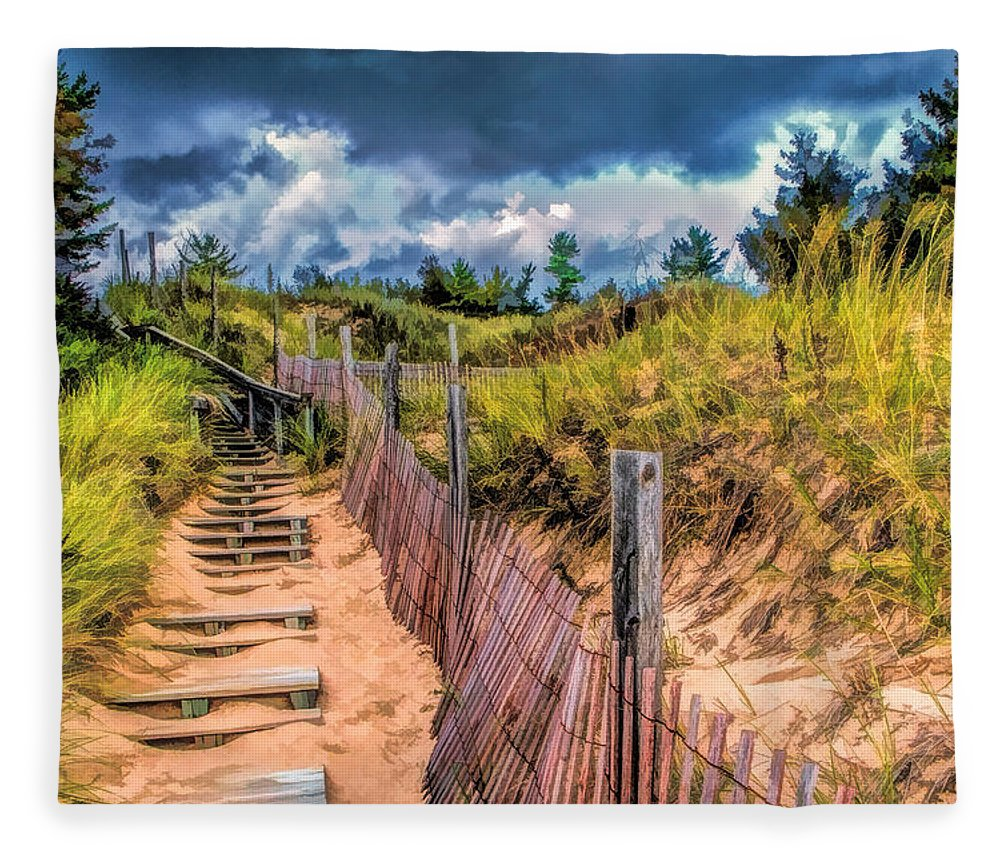 Door County Fleece Blanket featuring the painting Whitefish Dunes State Park Stairs by Christopher Arndt