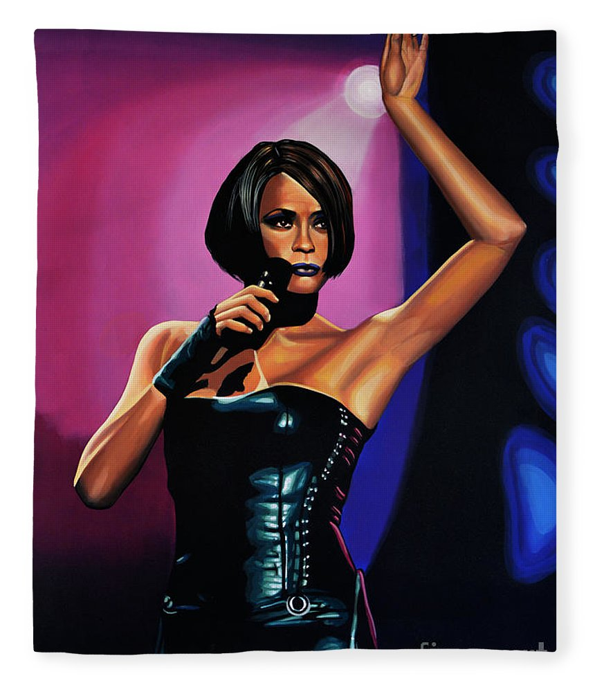 Whitney Houston Fleece Blanket featuring the painting Whitney Houston On Stage by Paul Meijering