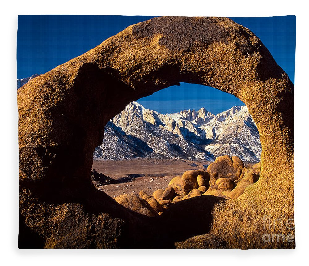 Alabama Hills Fleece Blanket featuring the photograph Whitney Portal by Inge Johnsson