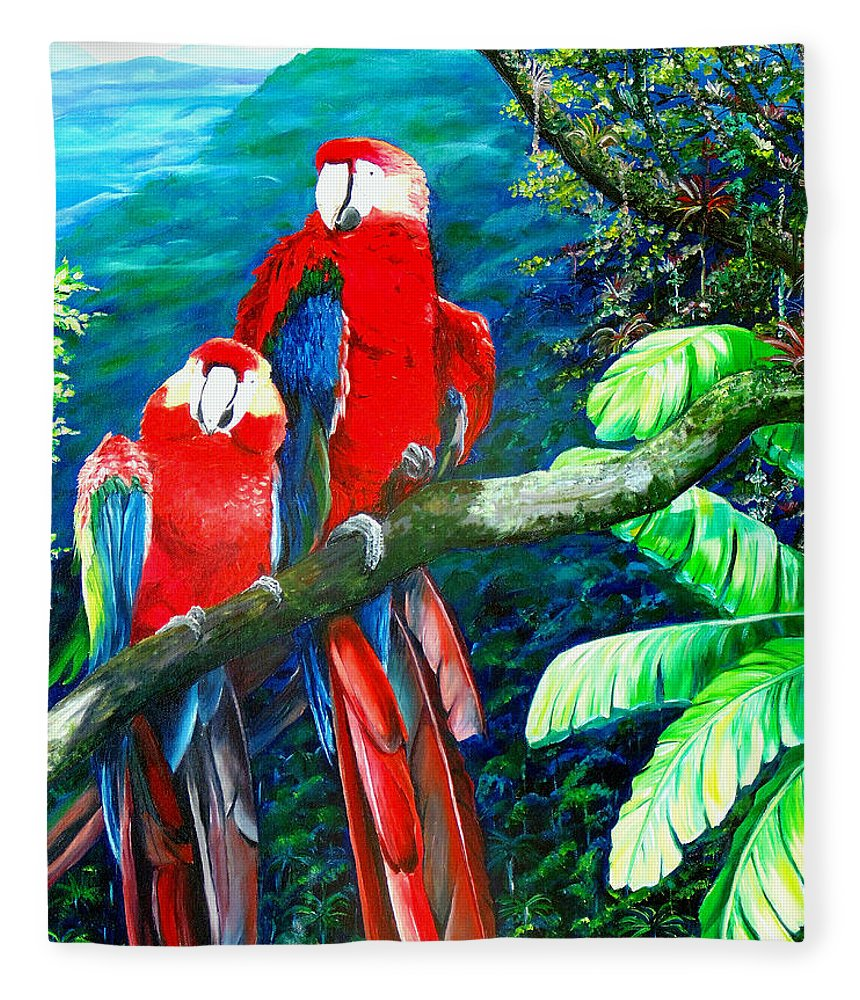 Caribbean Painting Green Wing Macaws Red Mountains Birds Trinidad And Tobago Birds Parrots Macaw Paintings Greeting Card  Fleece Blanket featuring the painting Who Me  by Karin Dawn Kelshall- Best