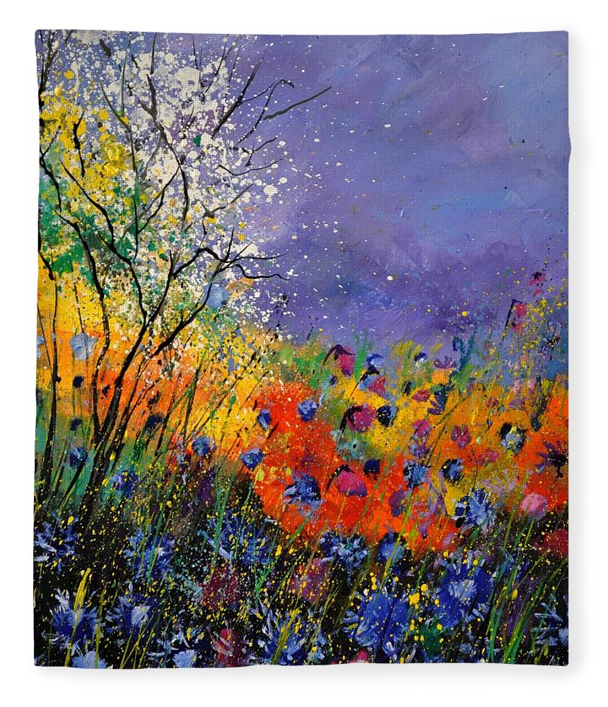 Landscape Fleece Blanket featuring the painting Wild Flowers 4110 by Pol Ledent