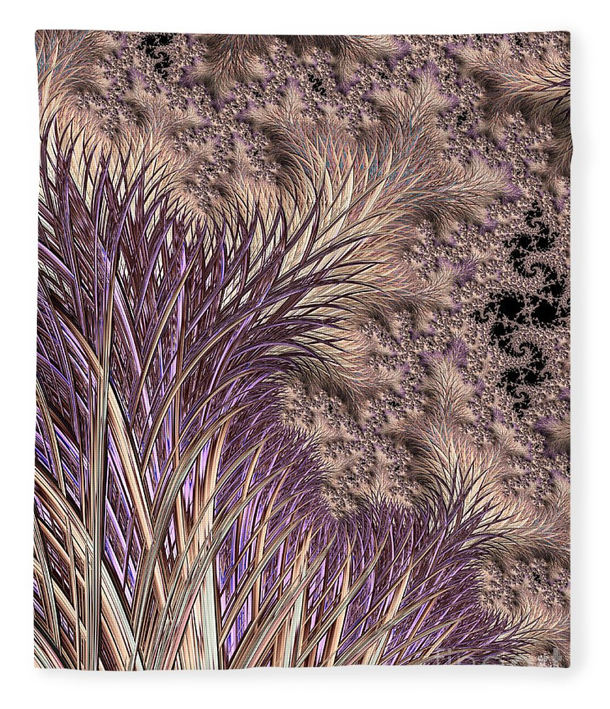 Background Fleece Blanket featuring the digital art Wild Grasses Blowing In The Breeze by Heidi Smith