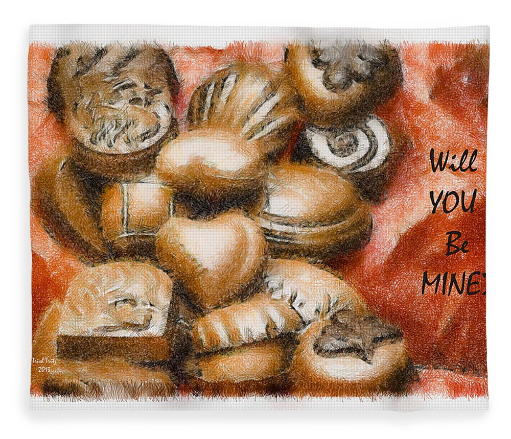 Candy Fleece Blanket featuring the mixed media Will You Be Mine by Trish Tritz