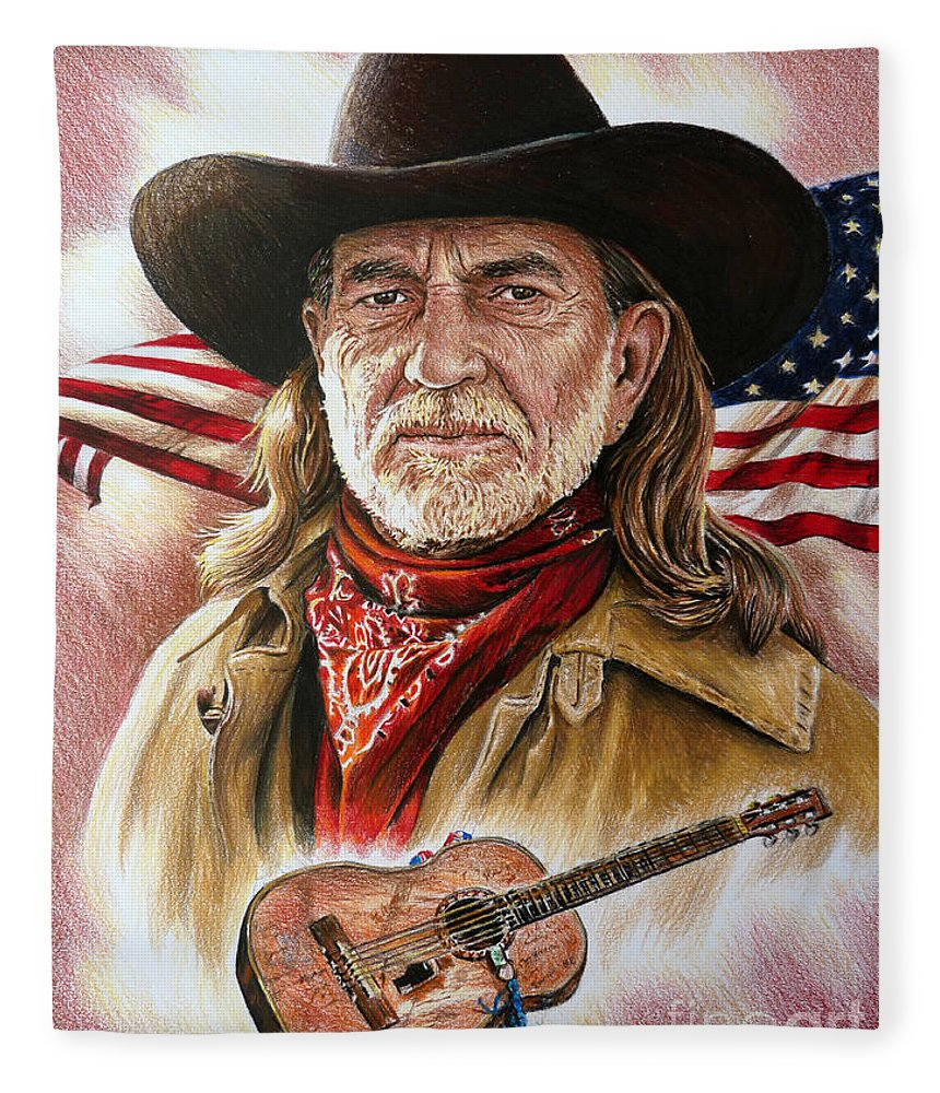 Willie Nelson Fleece Blanket featuring the painting Willie Nelson American Legend by Andrew Read