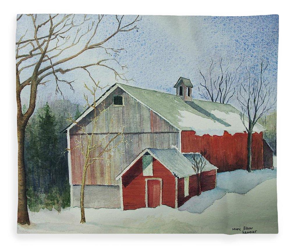 Christmas Card Fleece Blanket featuring the painting Williston Barn by Mary Ellen Mueller Legault