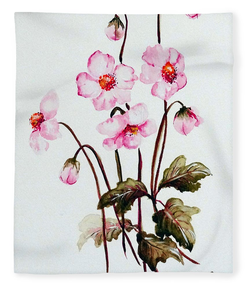 Florals Fleece Blanket featuring the painting Wind Flowers by Karin Dawn Kelshall- Best