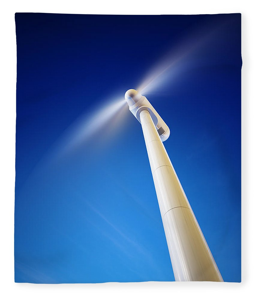 Wind Fleece Blanket featuring the photograph Wind Turbine From Below by Johan Swanepoel