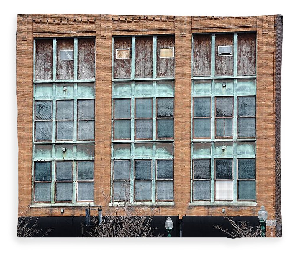 Building Fleece Blanket featuring the photograph Windows by Lisa Kane
