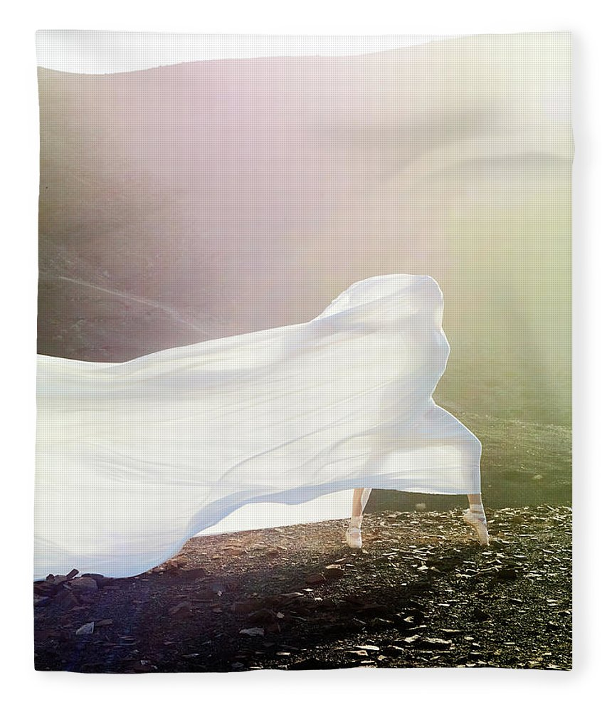 Ballet Dancer Fleece Blanket featuring the photograph Windy Ballerina by Henrik Sorensen