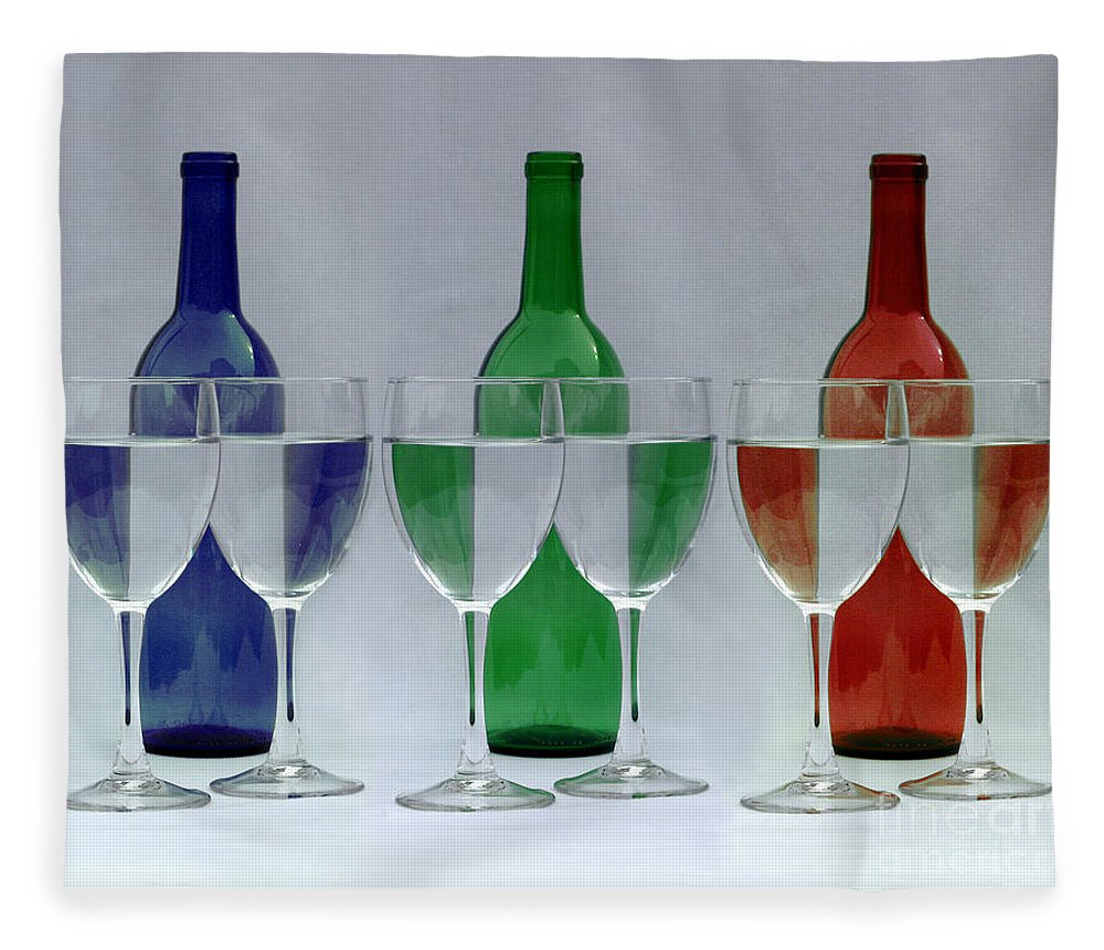 Wine Bottles Fleece Blanket featuring the photograph Wine Bottles And Glasses Illusion by Jack Schultz