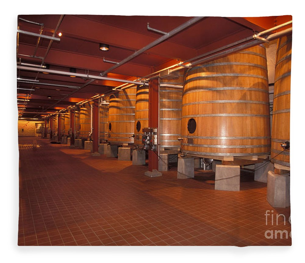 Wine Fleece Blanket featuring the photograph Wine Casks by Ron Sanford