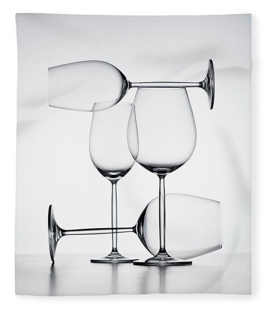 Empty Fleece Blanket featuring the photograph Wine Glasses by Jorg Greuel