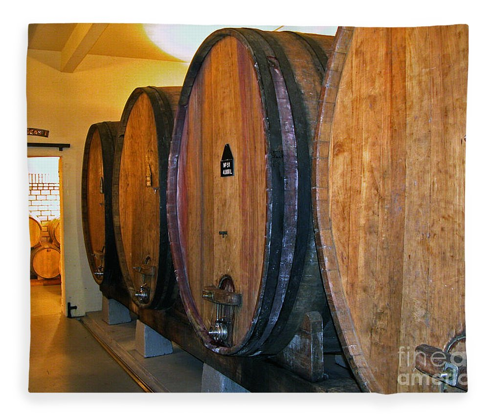 Wine Vats Fleece Blanket featuring the photograph Wine Vats by Tim Holt
