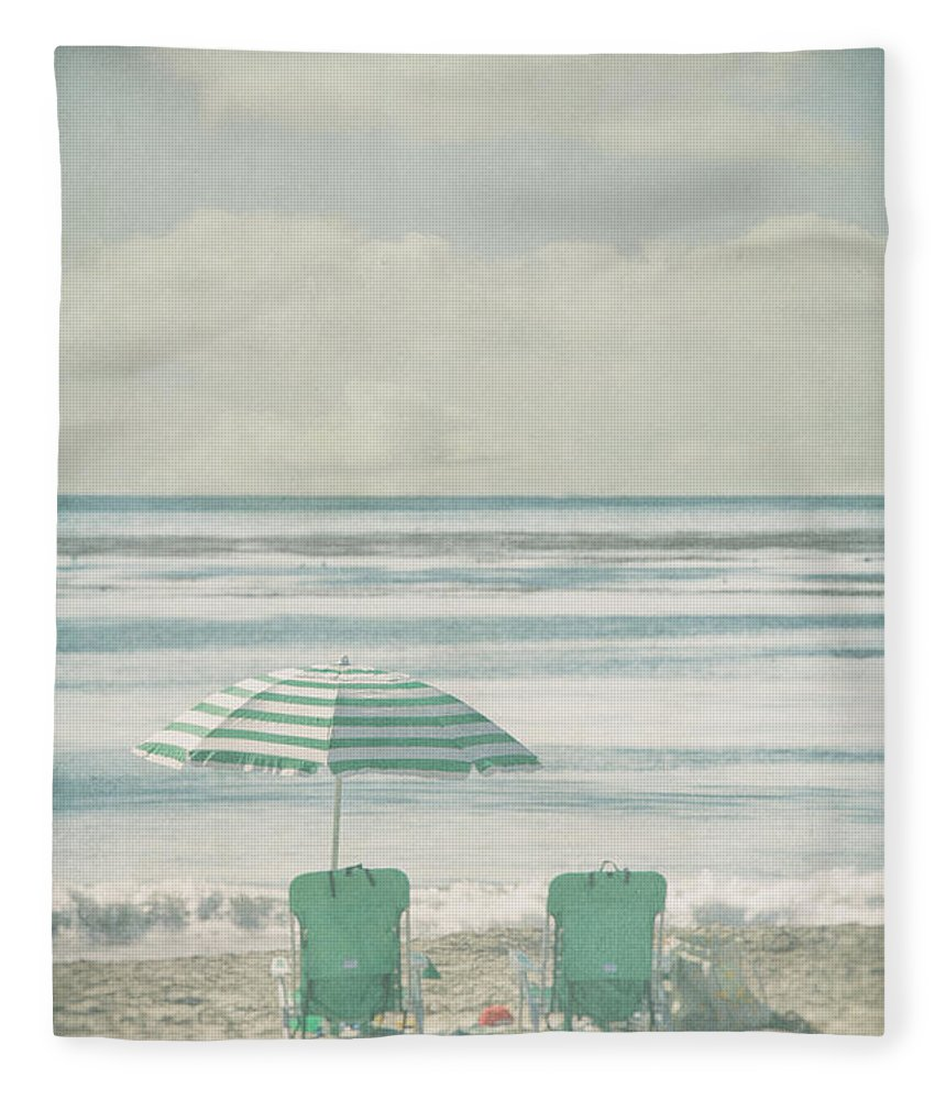 Tranquility Fleece Blanket featuring the photograph Winter Beach Chairs by Denise Taylor