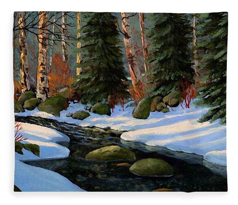 Landscape Fleece Blanket featuring the painting Winter Brook by Frank Wilson
