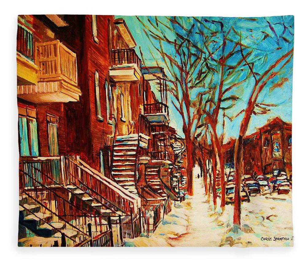Verdun Paintings By Montreal Street Scene Artist Carole Spandau Fleece Blanket featuring the painting Winter Staircase by Carole Spandau