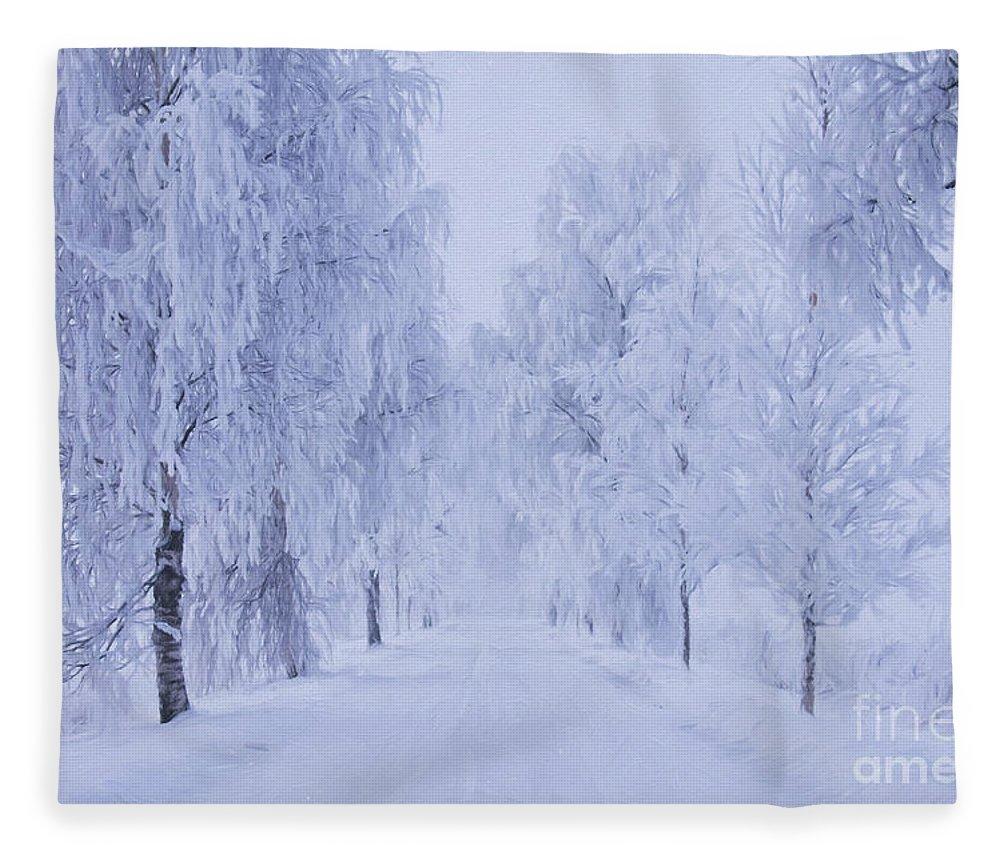 Art Fleece Blanket featuring the painting Winter by Veikko Suikkanen