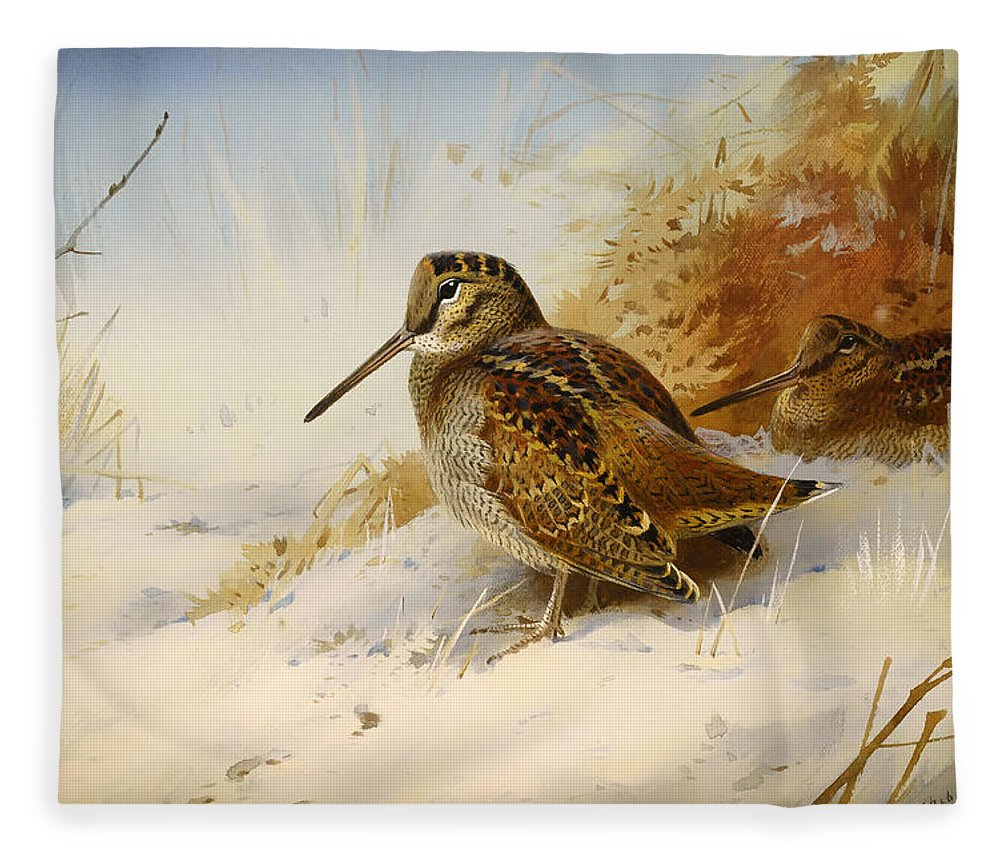Seasons Fleece Blanket featuring the painting Winter Woodcock by Mountain Dreams