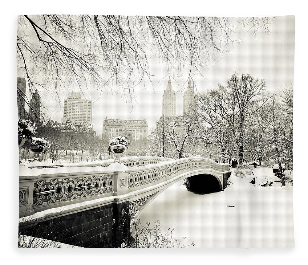 New York City Fleece Blanket featuring the photograph Winter's Touch - Bow Bridge - Central Park - New York City by Vivienne Gucwa