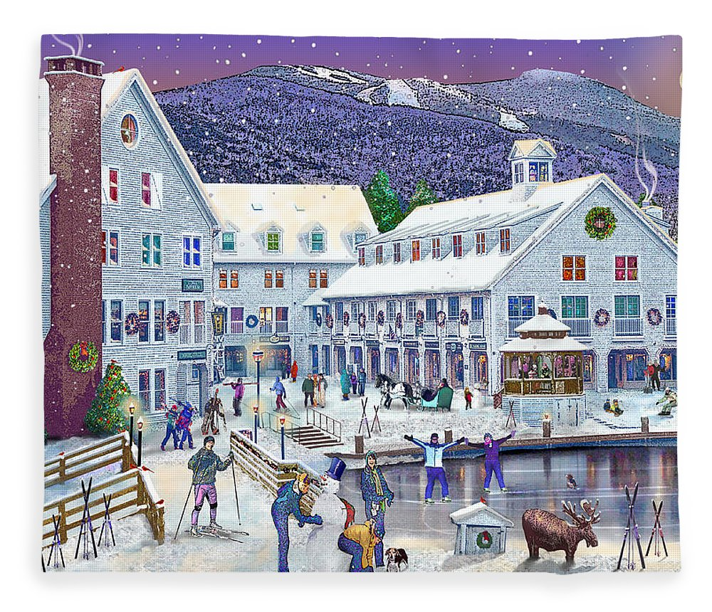 Waterville Valley New Hampshire Fleece Blanket featuring the digital art Wintertime At Waterville Valley New Hampshire by Nancy Griswold