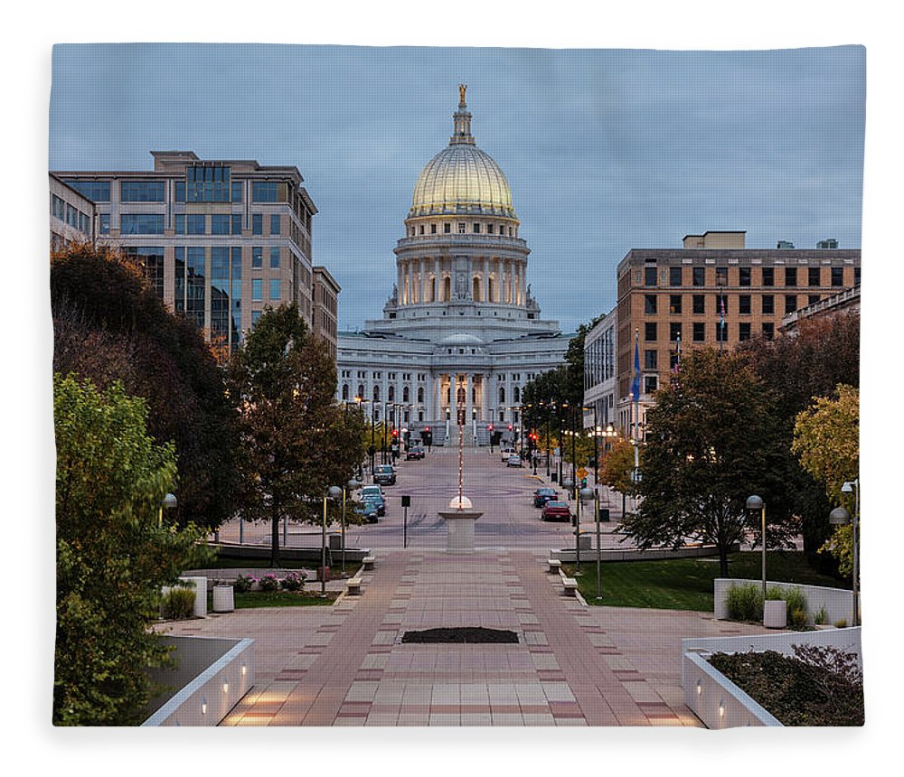 Land Vehicle Fleece Blanket featuring the photograph Wisconsin State Capitol Building by Kenneth C. Zirkel