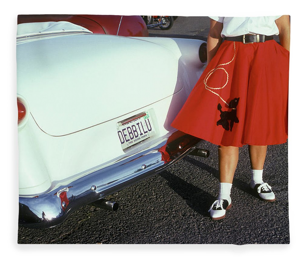 Photography Fleece Blanket featuring the photograph Woman In Red Poodle Skirt And Saddle by Vintage Images