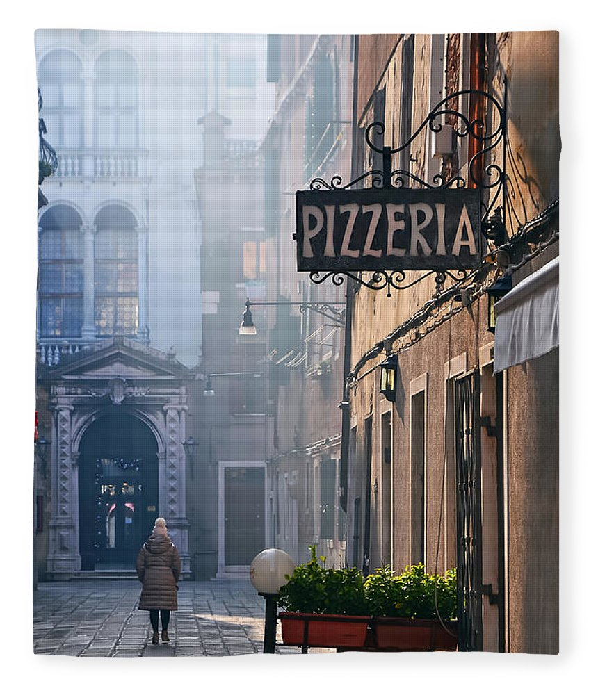 Arch Fleece Blanket featuring the photograph Woman Walking On Beautiful Street In by Alexandre Moreau