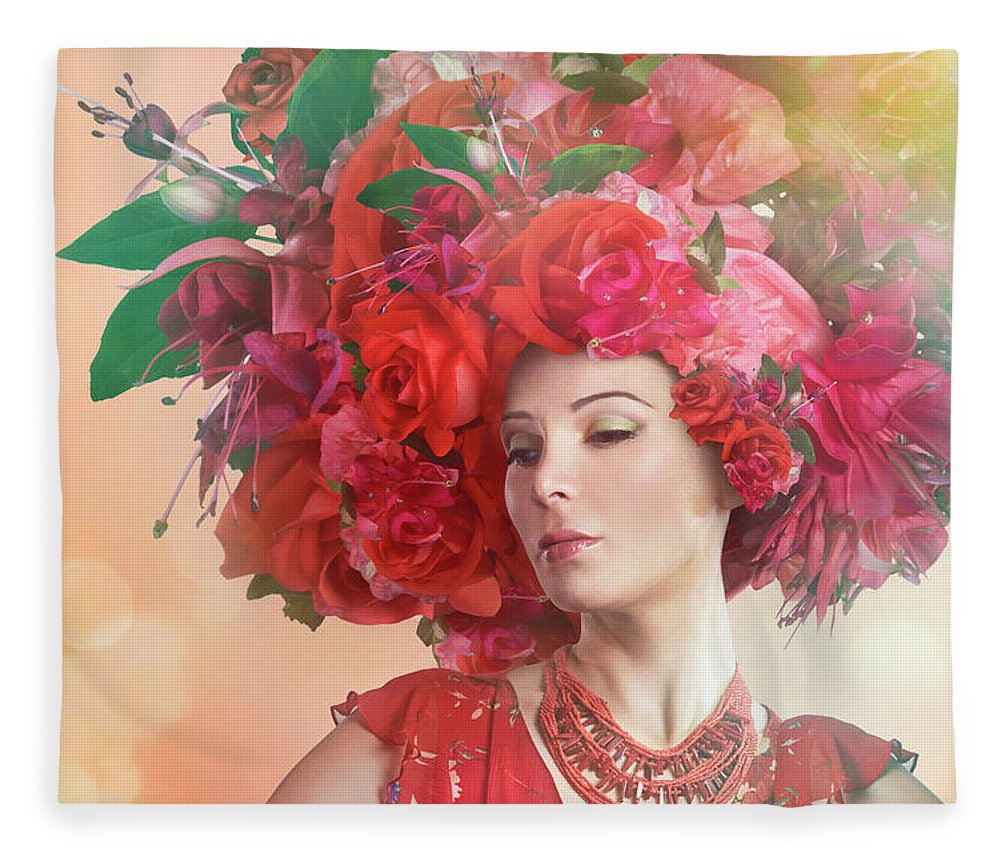 Art Fleece Blanket featuring the photograph Woman Wearing A Big Red Hat Made Of by Paper Boat Creative