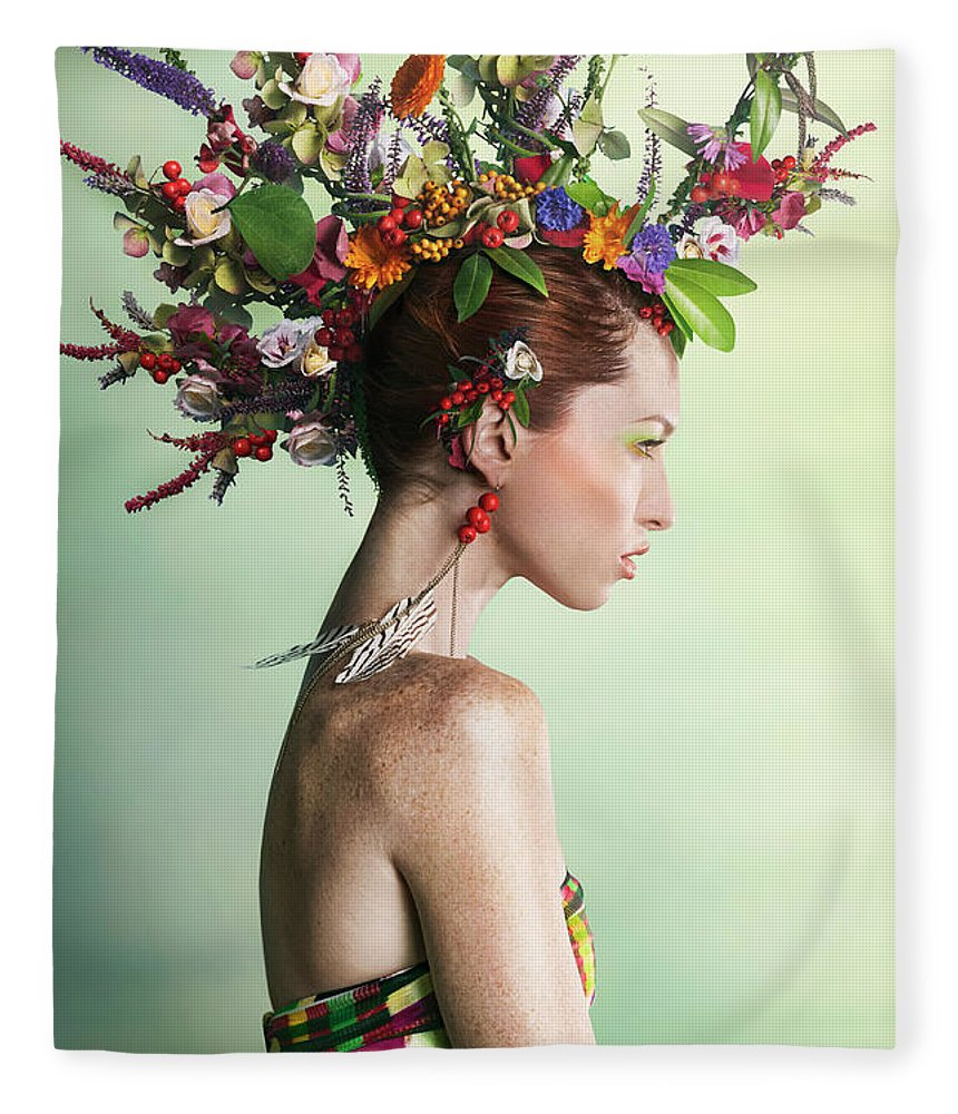 Art Fleece Blanket featuring the photograph Woman Wearing A Colorful Floral Mohawk by Paper Boat Creative