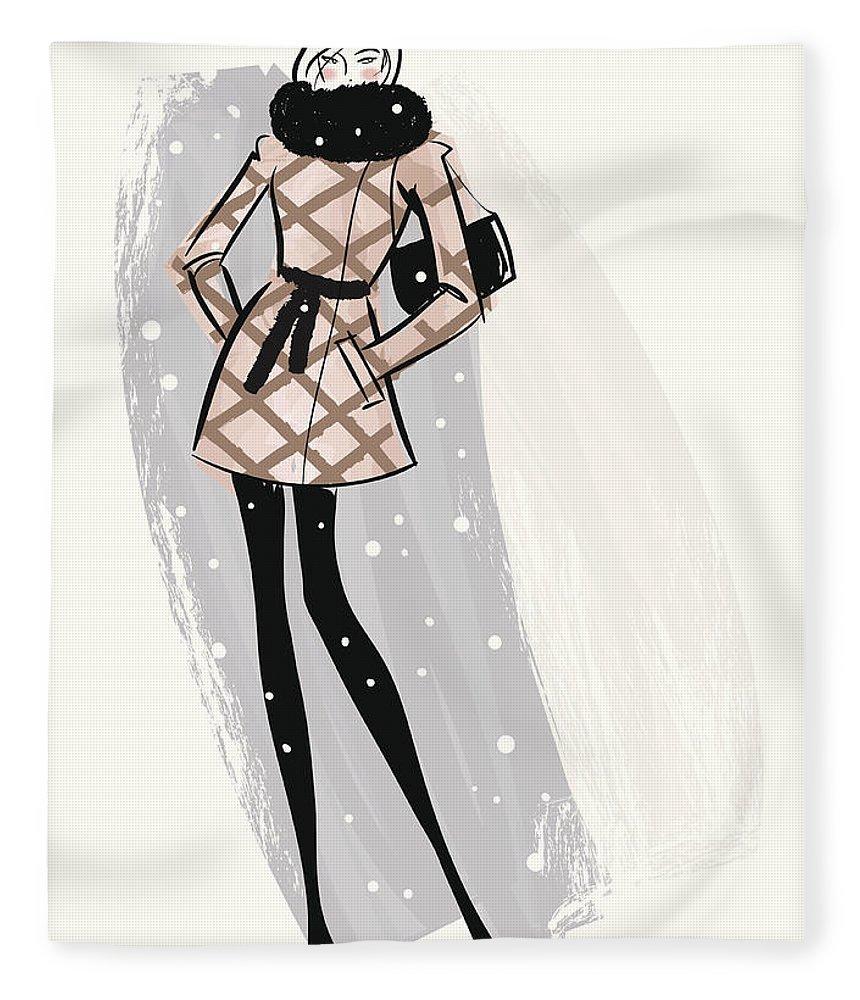 People Fleece Blanket featuring the digital art Woman Wearing Jacket In Snow by Mcmillan Digital Art