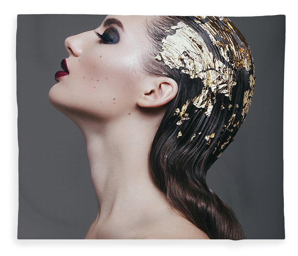 Cool Attitude Fleece Blanket featuring the photograph Woman With Foil Hairstyle by Lambada