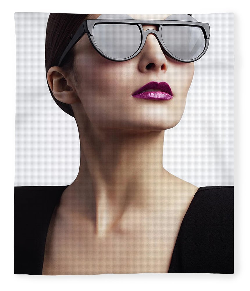 Cool Attitude Fleece Blanket featuring the photograph Woman With Trendy Eyewear by Lambada