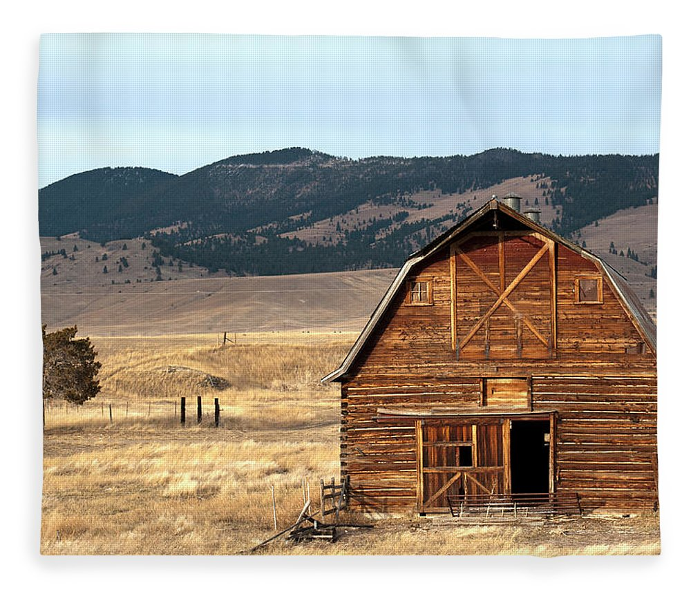 Scenics Fleece Blanket featuring the photograph Wooden Hut In The Countryside Of by Feifei Cui-paoluzzo