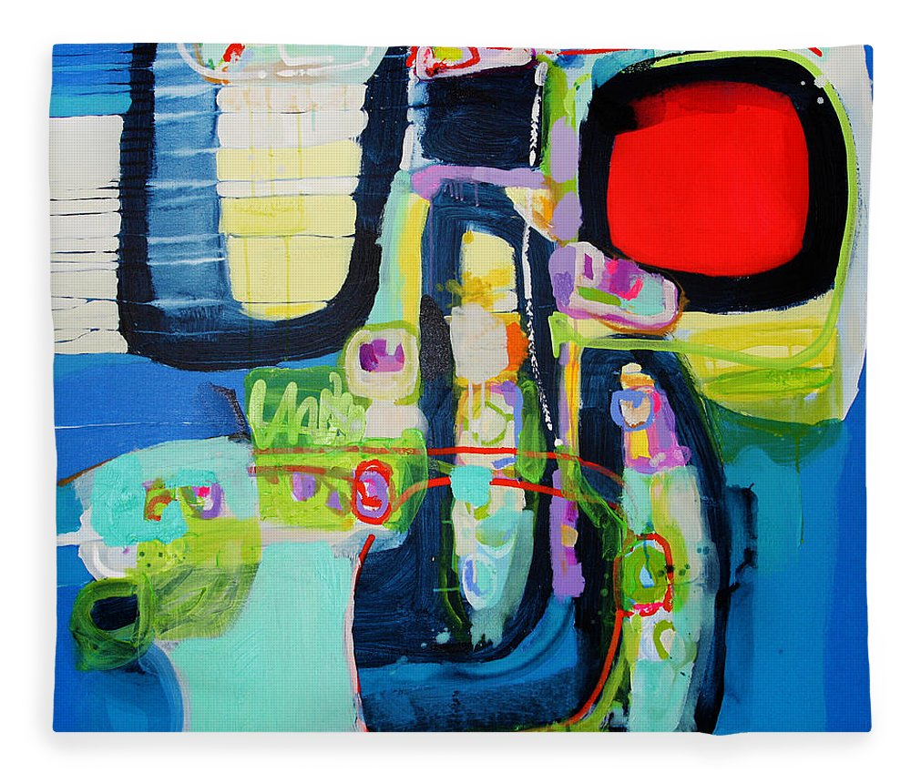 Abstract Fleece Blanket featuring the painting Work It Out by Claire Desjardins