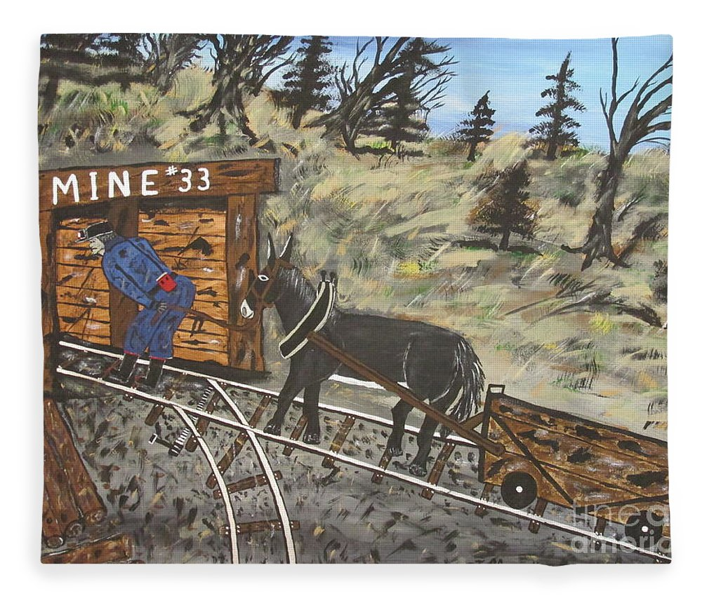 Coal Man Art Fleece Blanket featuring the painting Old Coal Mine Painting By Jeffrey Koss by Jeffrey Koss
