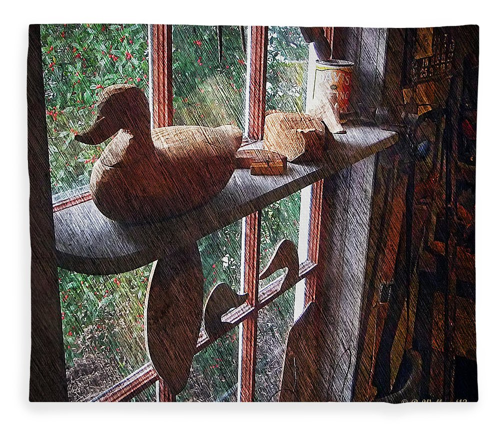 2d Fleece Blanket featuring the photograph Workshop Window by Brian Wallace