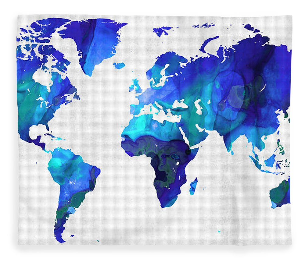 World map 17 blue art by sharon cummings fleece blanket for sale map fleece blanket featuring the painting world map 17 blue art by sharon cummings by gumiabroncs Gallery