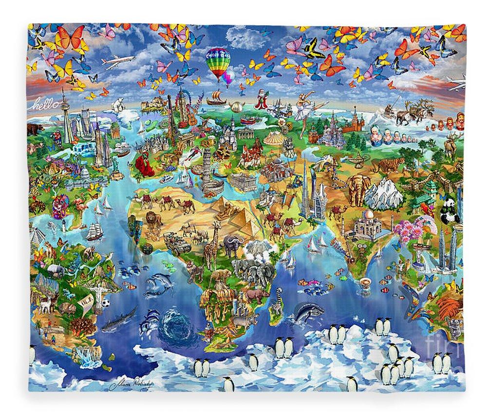 World map of world wonders fleece blanket for sale by maria rabinky world map fleece blanket featuring the painting world map of world wonders by maria rabinky gumiabroncs Images